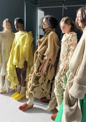 Models wear designs from Sara Kickmayer, from Institut Francais de la Mode, in France.PHOTO:...
