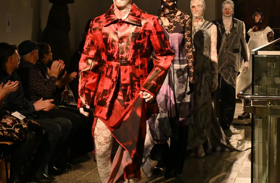 The striking garments from designer Jing He, of Massey University, are showcased on the runway at...