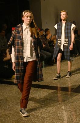 Models wear the designs of George Borrie, from the Southern Institute of Technology in...