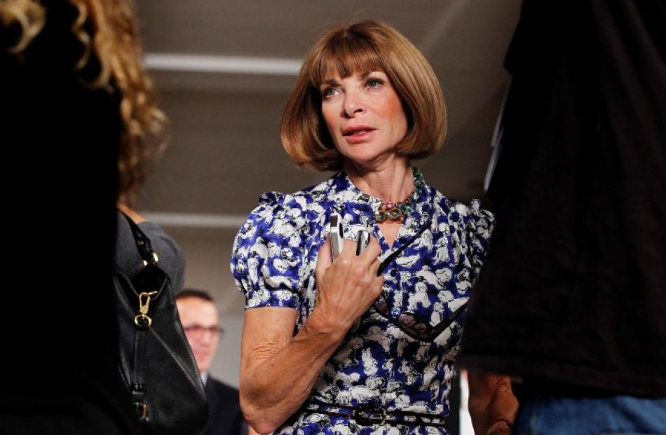 Vogue Editor Anna Wintour departs a presentation of Ralph Lauren's Spring/Summer 2013 collection...
