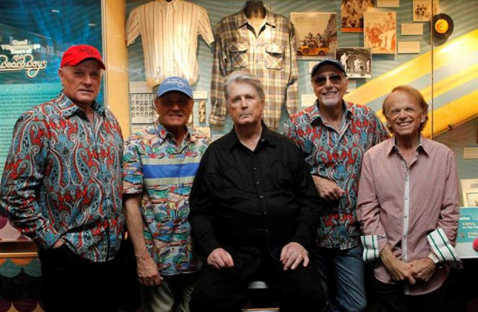 The Beach Boys (L-R) Mike Love, Bruce Johnston, Brian Wilson, David Marks and Al Jardine pose...