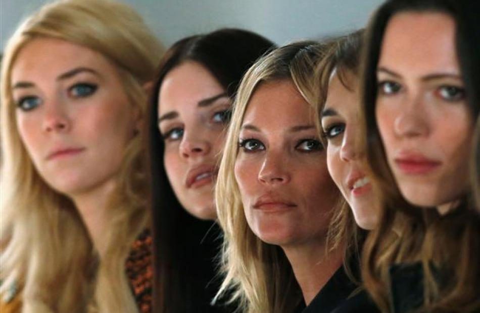 Vanessa Kirby (L), Lana Del Rey (2nd L), Kate Moss (C), Alexa Chung (2nd R) and Rebecca Hall...