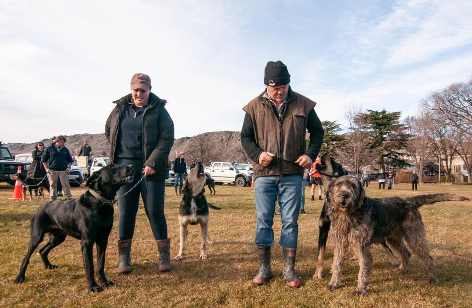 Bannockburn father and daughter Erin Chittock with dogs Sam and Dave and Kerry Chittock with...