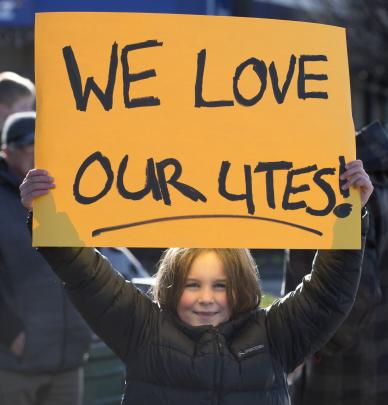 Bella Given (7), of Owaka, makes her feelings known at the Gore protest.PHOTO: GERARD O'BRIEN