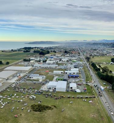 Protesters head out on to State Highway 1 from the North Otago Business Park in Oamaru. PHOTO:...