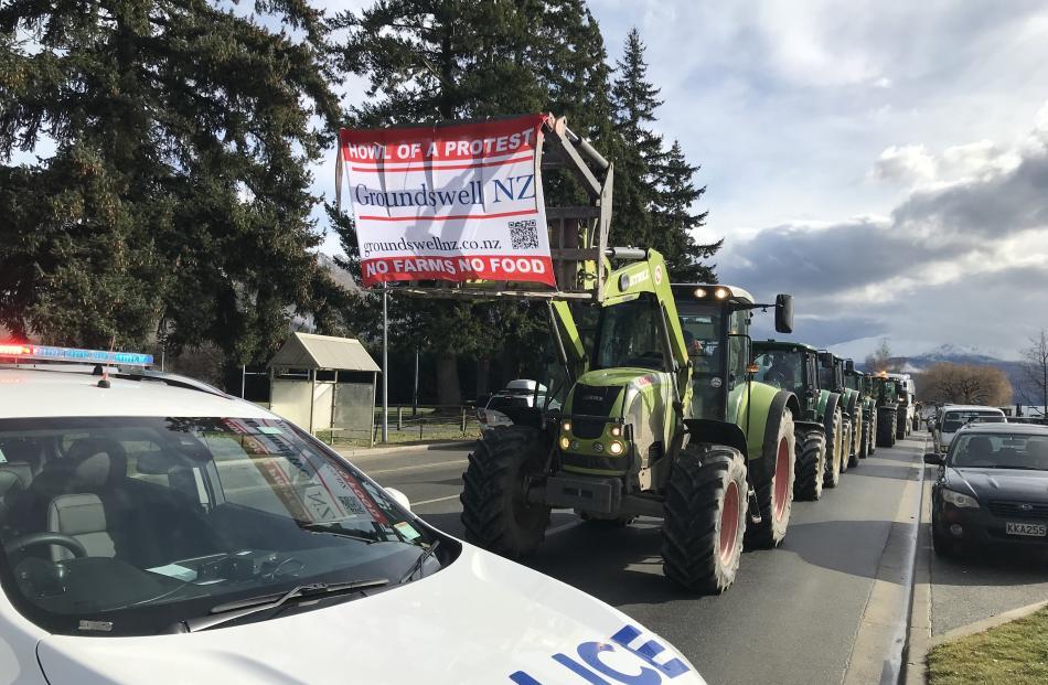Tractors drive through Wanaka. PHOTO: MARJORIE COOK
