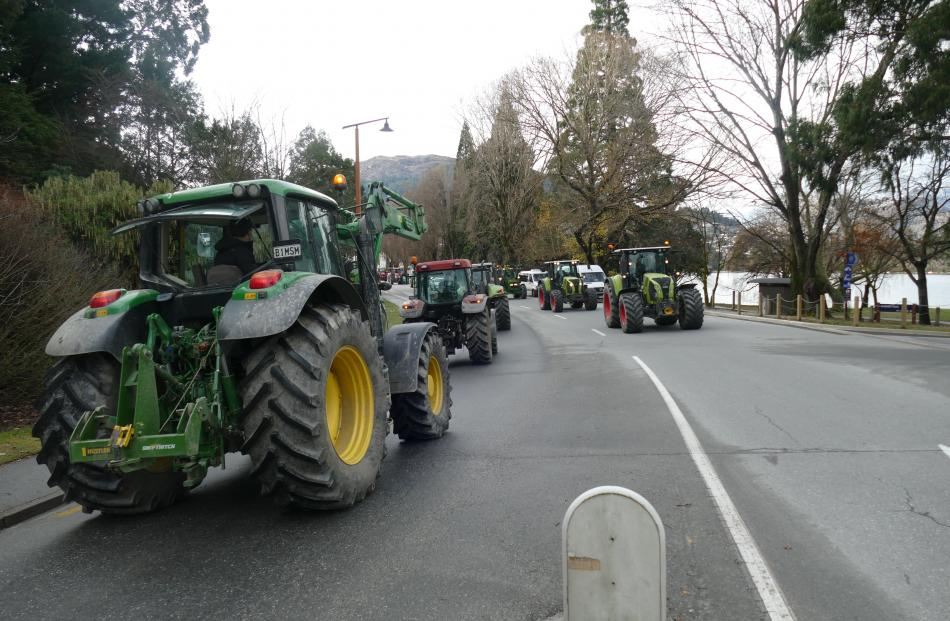 Tractors in the streets of Queenstown. PHOTO: TRACEY ROXBURGH