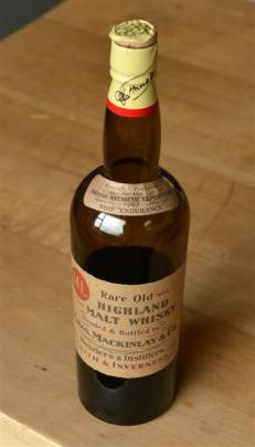 A bottle of Shackleton's whisky. Photo by Stephen Jaquiery.