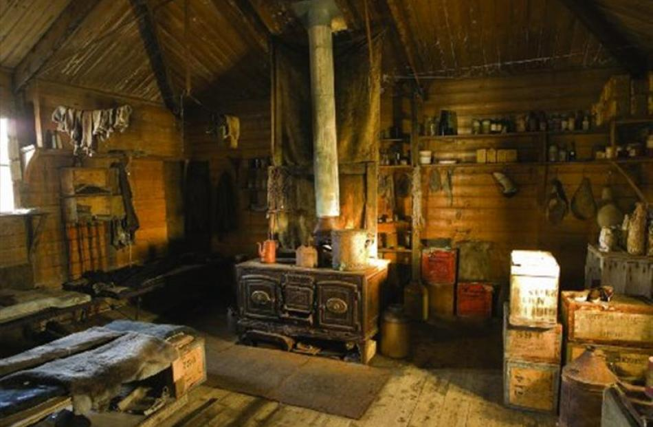 The well-preserved interior of Shackleton's hut in 2006. Photo by Nigel McCall, of the Antarctic...