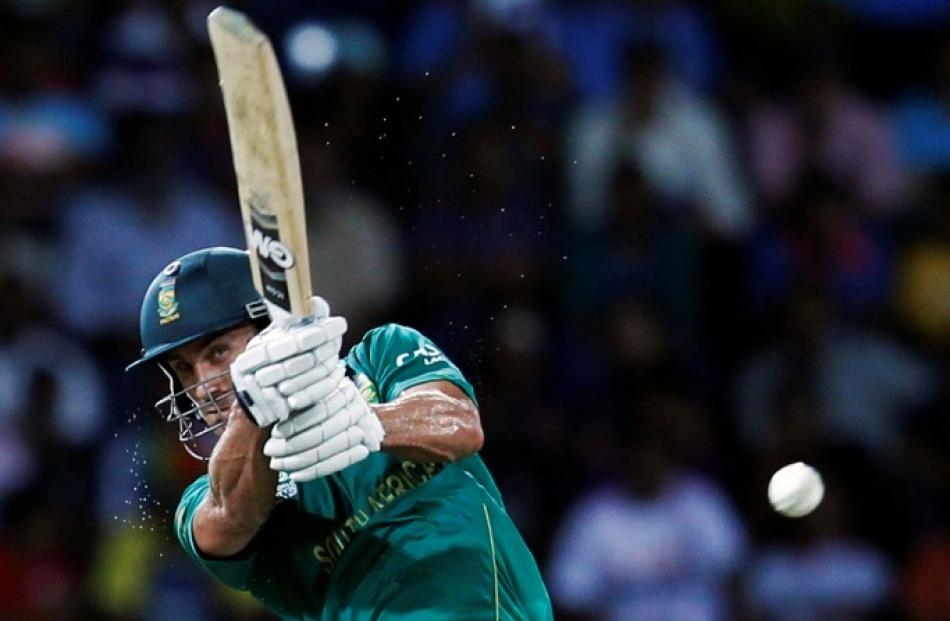 South Africa's Faf du Plessis hits a shot during their Twenty20 World Cup Super 8 cricket match...