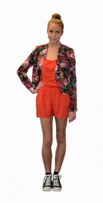 "Jorge 'Lizzy' blazer ($129.99) and ""Bewitched"" romper ($89.99)."