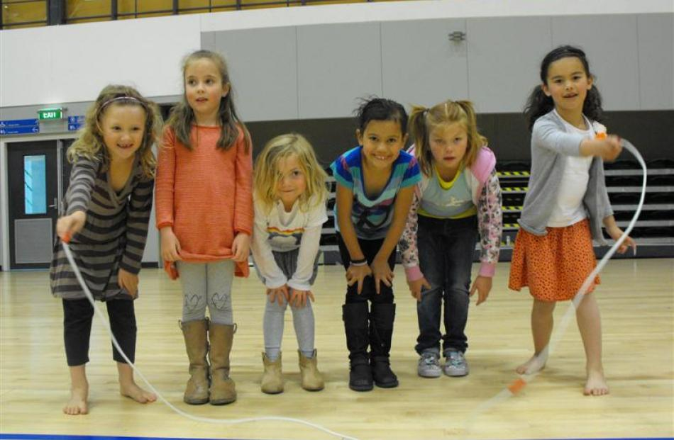 Taking a breather from skipping are (from left)  Eylish O'Connell, Ava Percival, Holly MacKenzie,...