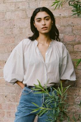 A cropped puff sleeve creates spacious ease to this Mahsa Everyday Blouse found at Company of...