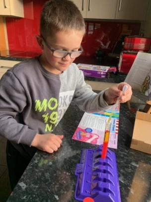 It was a science experiment which kept Leo Marshall (7) busy in Invercargill on Sunday. PHOTO:...