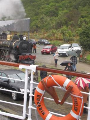 The Kingston Flyer pulled up to meet  TSS Earnslaw in Kingston yesterday during a special cruise...