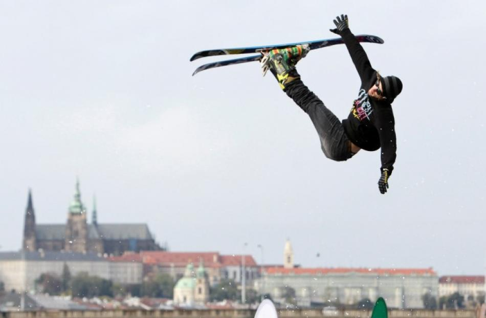 A skier jumps off a ramp during the Apres Ski 2012 winter fun festival in Prague, Czech Republic....