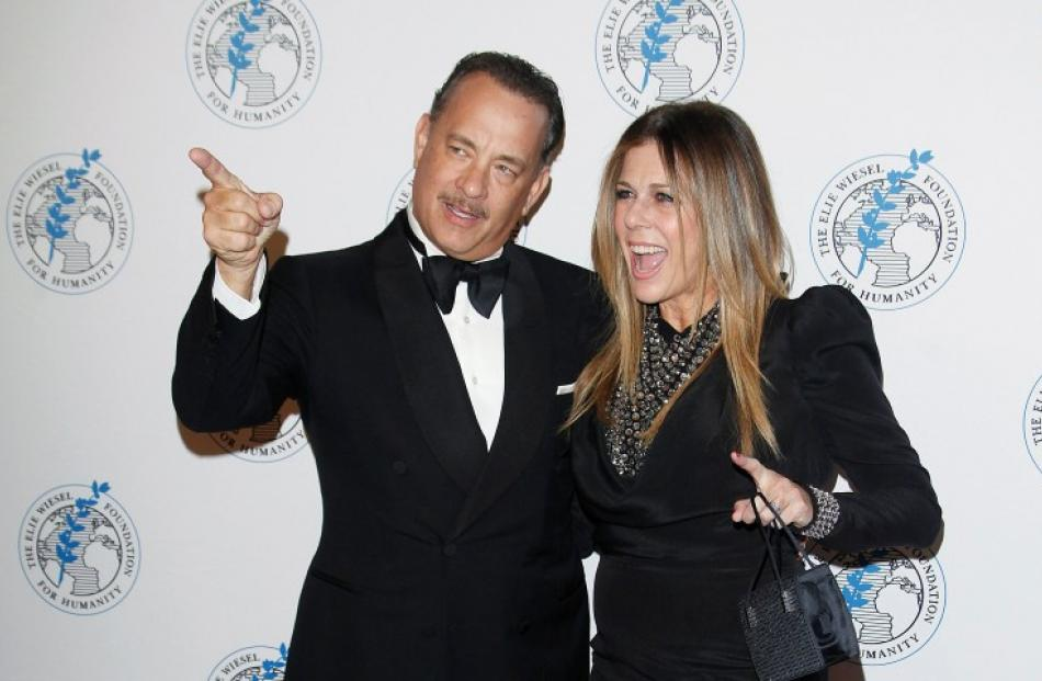 Actor Tom Hanks and his wife Rita Wilson arrive for the Elie Wiesel Foundation for Humanity...