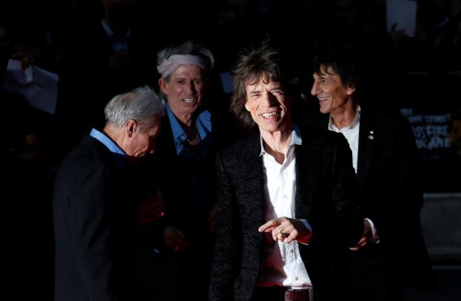 The Rolling Stones (L-R) Charlie Watts, Keith Richards, Mick Jagger and Ronnie Wood arrive for...