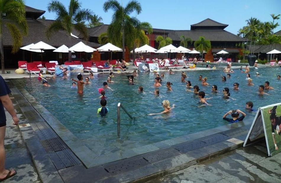 The large pool, with its daily aquafitness sessions and neaby bar, proved to be the social hub of...