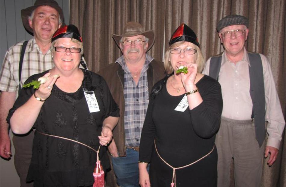"""Ah Gum"", Lynda Anngow (front left), of Arrowtown, and ""Ah Lum"", Noelene Barron, of Darfield,..."