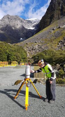 Avalanche technician Simon Morris checks the Lidar unit. PHOTOS: SUPPLIED