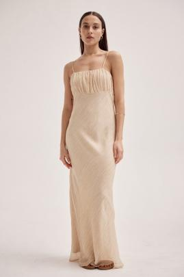 Textured silk linen drapes gently across the body, giving the Marle, Pamela Dress in caramel, a...