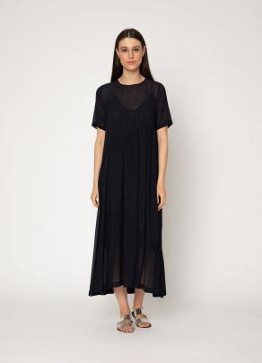 An elegant midi-length occasion-wear look with the Teddy Dress in navy,featuring sheer gathered...
