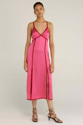 Saturated magenta and red tones bring exuberance to the Third Form, Last Dance slip dress.