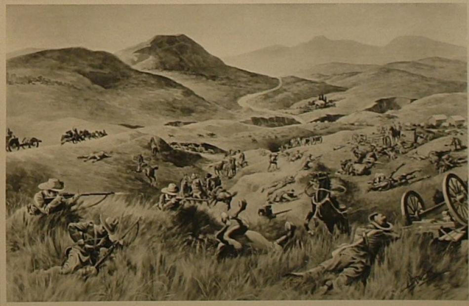 Robert Hawcridge's painting 'Sgt Minifie saves a Maxim gun at Langverwacht'