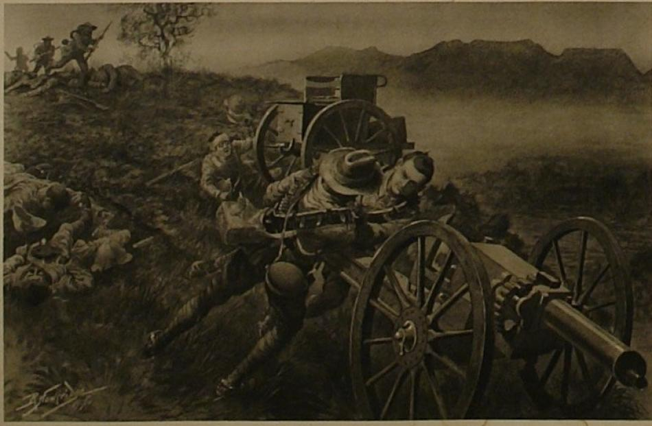 Robert Hawcridge's painting 'The scrap at Koornspruit, as the Kiwi contingent covers the flight...