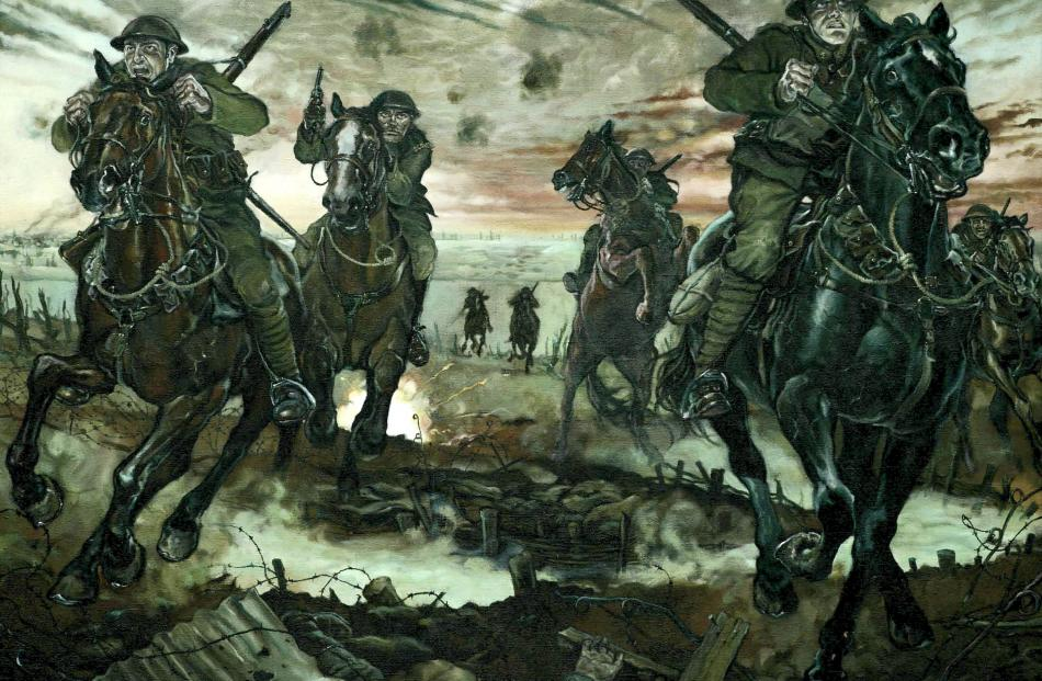 'The charge of the Otago Mounted Rifles at Messines on the Western Front in 1917', by Captain...