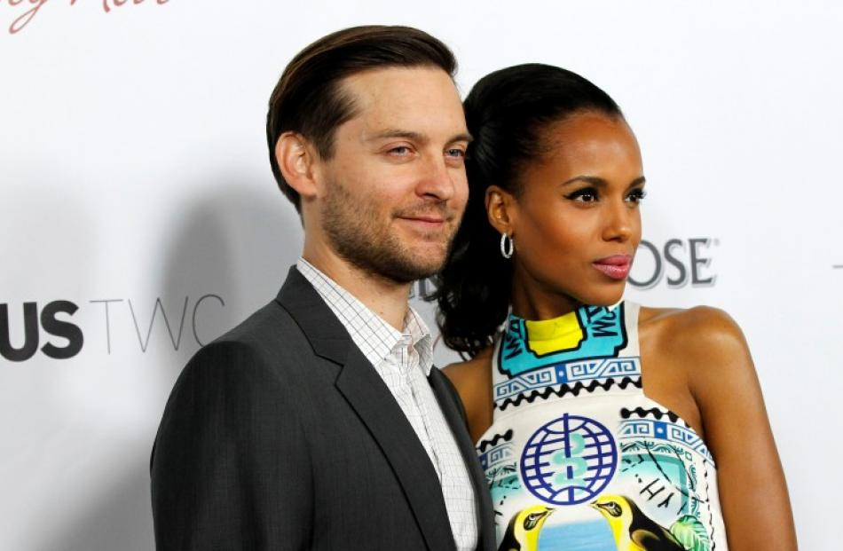 Cast members Tobey Maguire and Kerry Washington pose at the premiere of 'The Details' at the...
