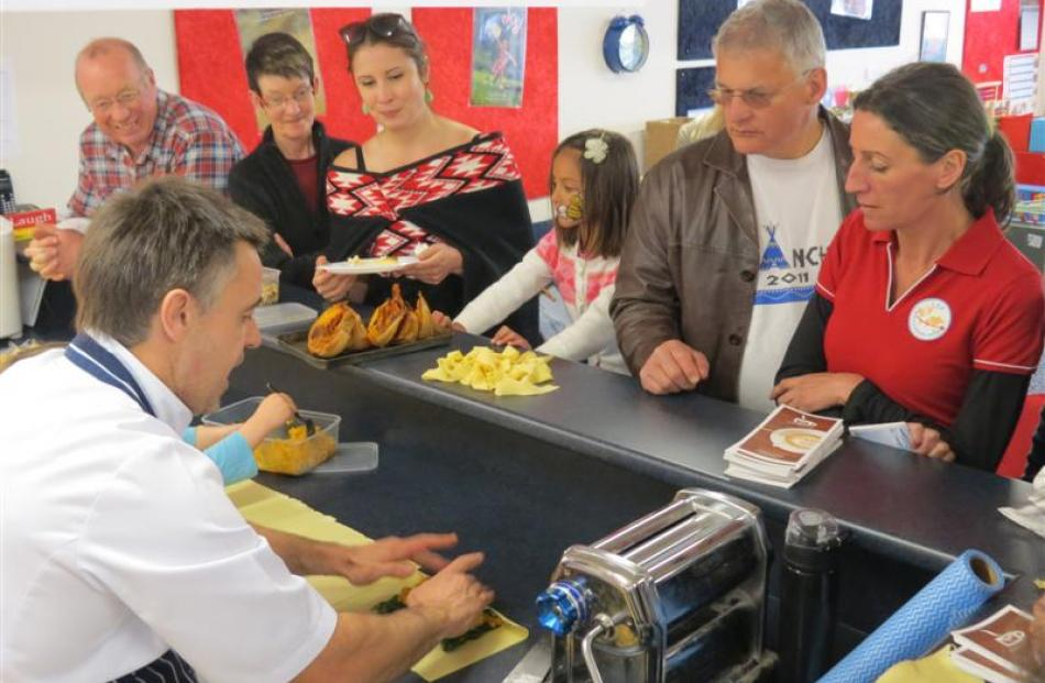 Wai Group chef Martin James, whose daughter attends KingsView Early Learning Centre, demonstrates...