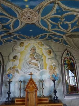 The Madonna and Child and surrounding artwork.