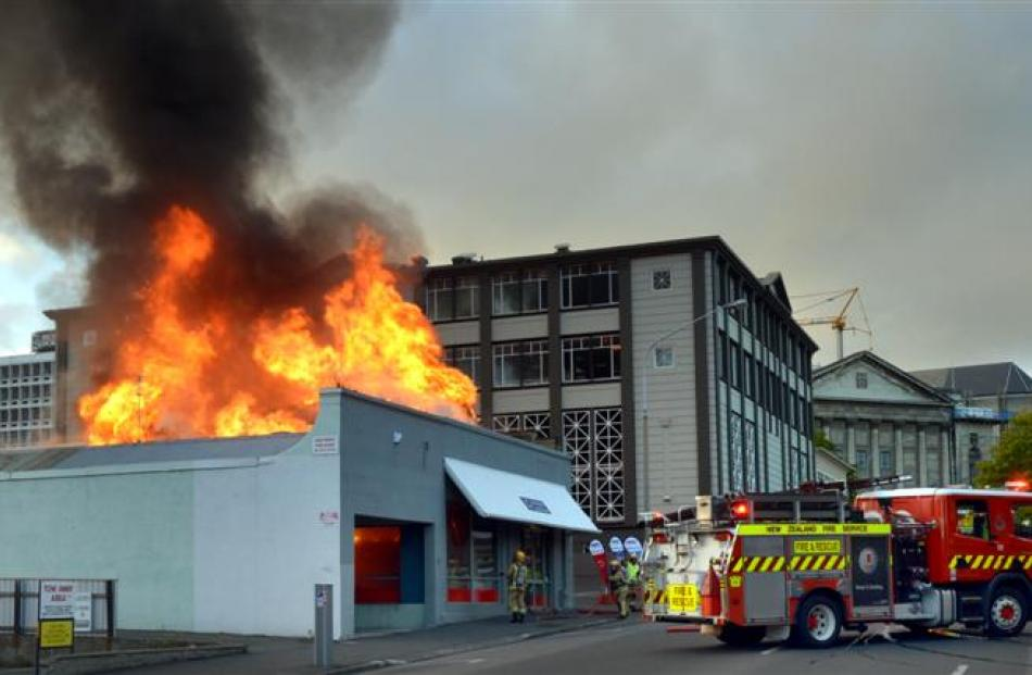Fire erupts from Dunedin business Colortronics in Filleul St. The Fire Service was called at 6.33am.