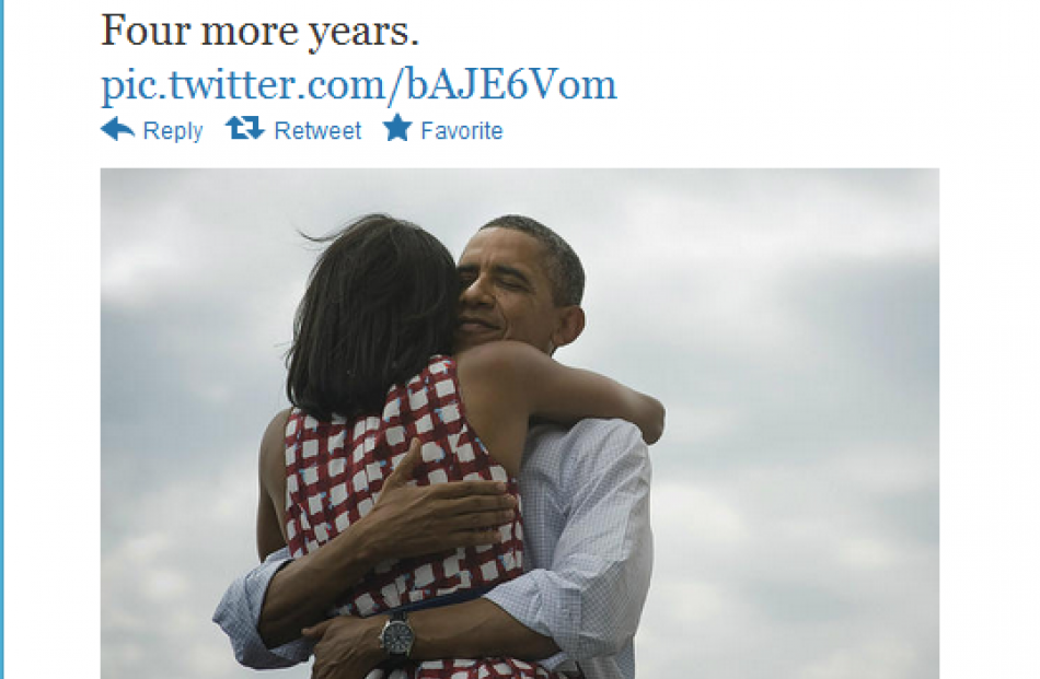 'Four more years': A victory tweet from Barack Obama's account.