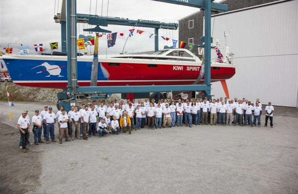 Workers at the Lyman Morse Boatbuilding yard in Maine. Photos supplied.