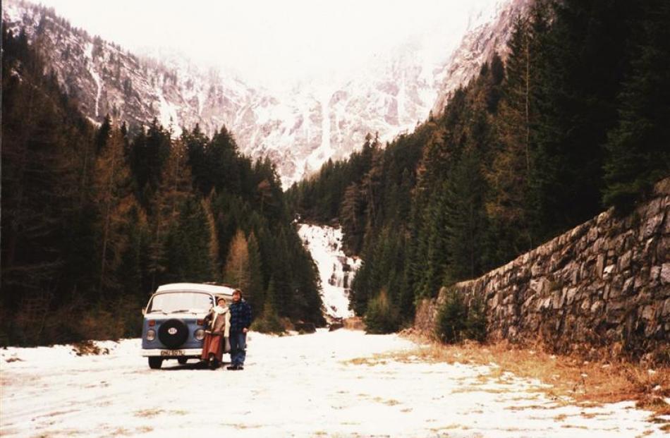 A frozen waterfall in Austria.