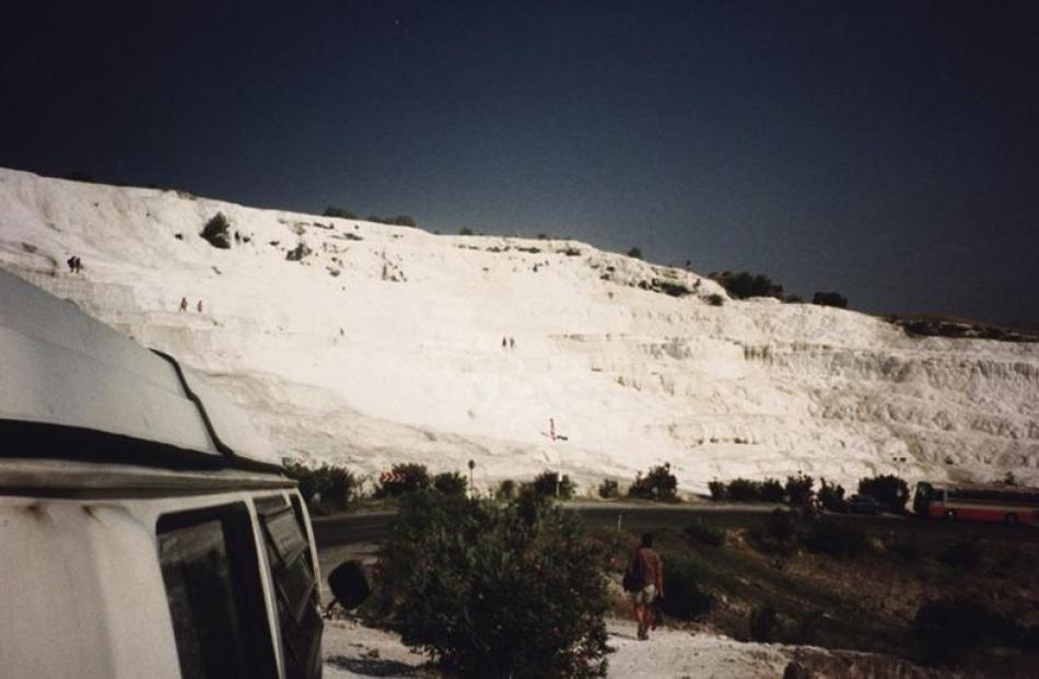 The hot springs and terraces at Pamukkale, Turkey.