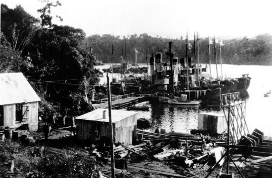 The Norwegian whalers base on Stewart Island, photographed about 1930. Photo by Southland Museum...
