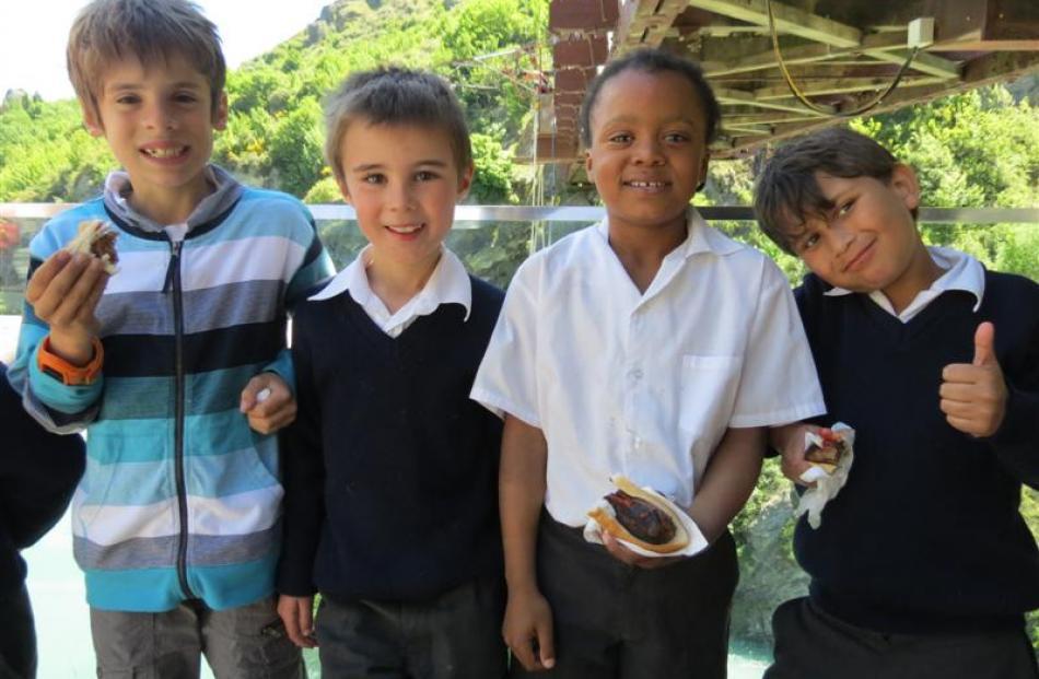 KingsView School pupils (from left) Sebastian Schneider (10), Tobin Roebeck (6), Damien Miler (8)...