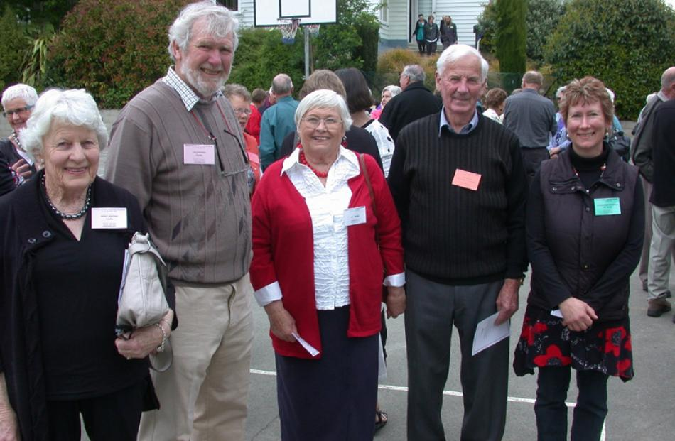 Teacher Merle Whiting of Christchurch, principal Lyn Shannon of Napier, Jan and Ian Wedge of...