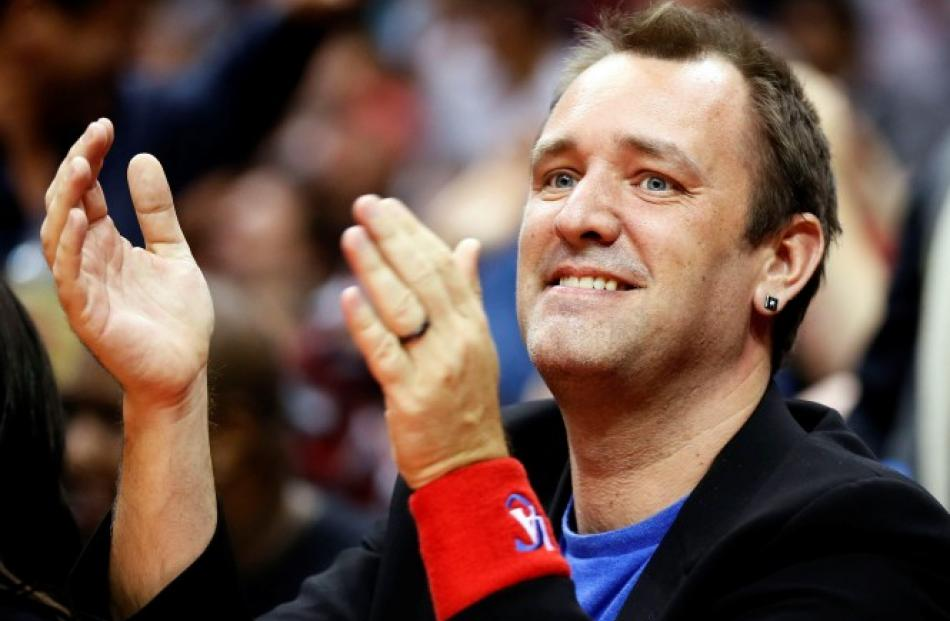 Actor and director Trey Parker watches the Miami Heat play the Los Angeles Clippers in their NBA...