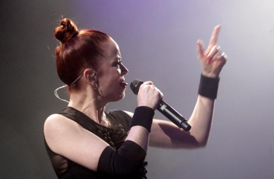 Shirley Manson of US band Garbage performs during the band's concert in Riga, Latvia. REUTERS...