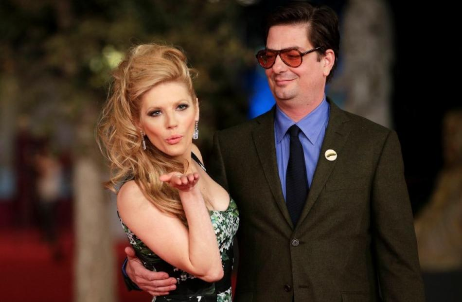 US director Roman Coppola poses with Canadian actress Katheryn Winnick during the red carpet for...