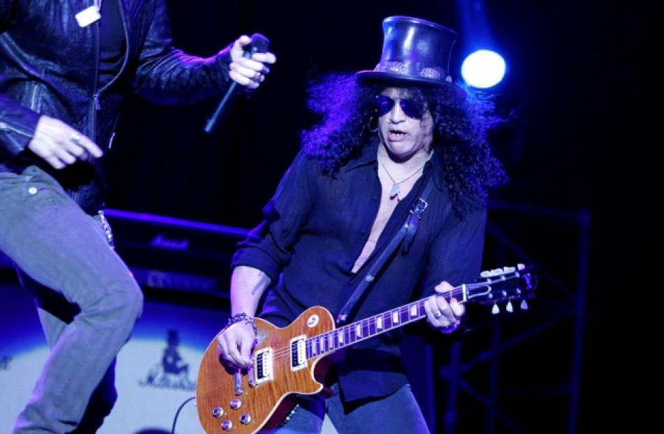 US musician Slash performs at Montevideo's summer theatre. REUTERS/Andres Stapff
