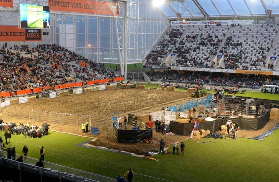 Rodeo setup at the stadium.
