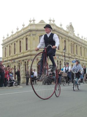 One of many penny farthing bicycles that were seen riding around Oamaru.