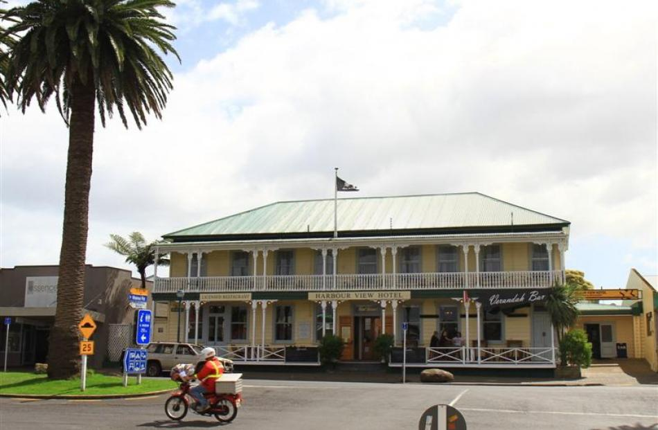 The 107-year-old Harbour View Hotel in Raglan's main street.