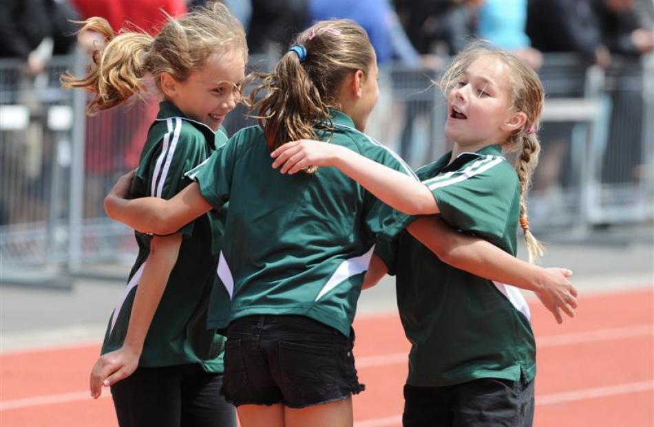 The Terrace School pupils Aja Tate-Bell (9), Celina Jefferson (9) and Tegan Chapman (10)...